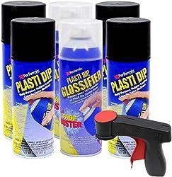 Plasti Dip Rim Kit: 4 Aerosol Cans Black, 2 Aerosol Cans Glossifier, 1 Cangun