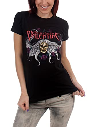Amazon Com Bullet For My Valentine Skull Flowers Juniors T Shirt