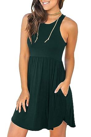 f47dbdceaf85 Viishow Women's Sleeveless Casual Swing Dresses Round Neck T Shirt Dress  with Pockets Sleeveless Dark Green