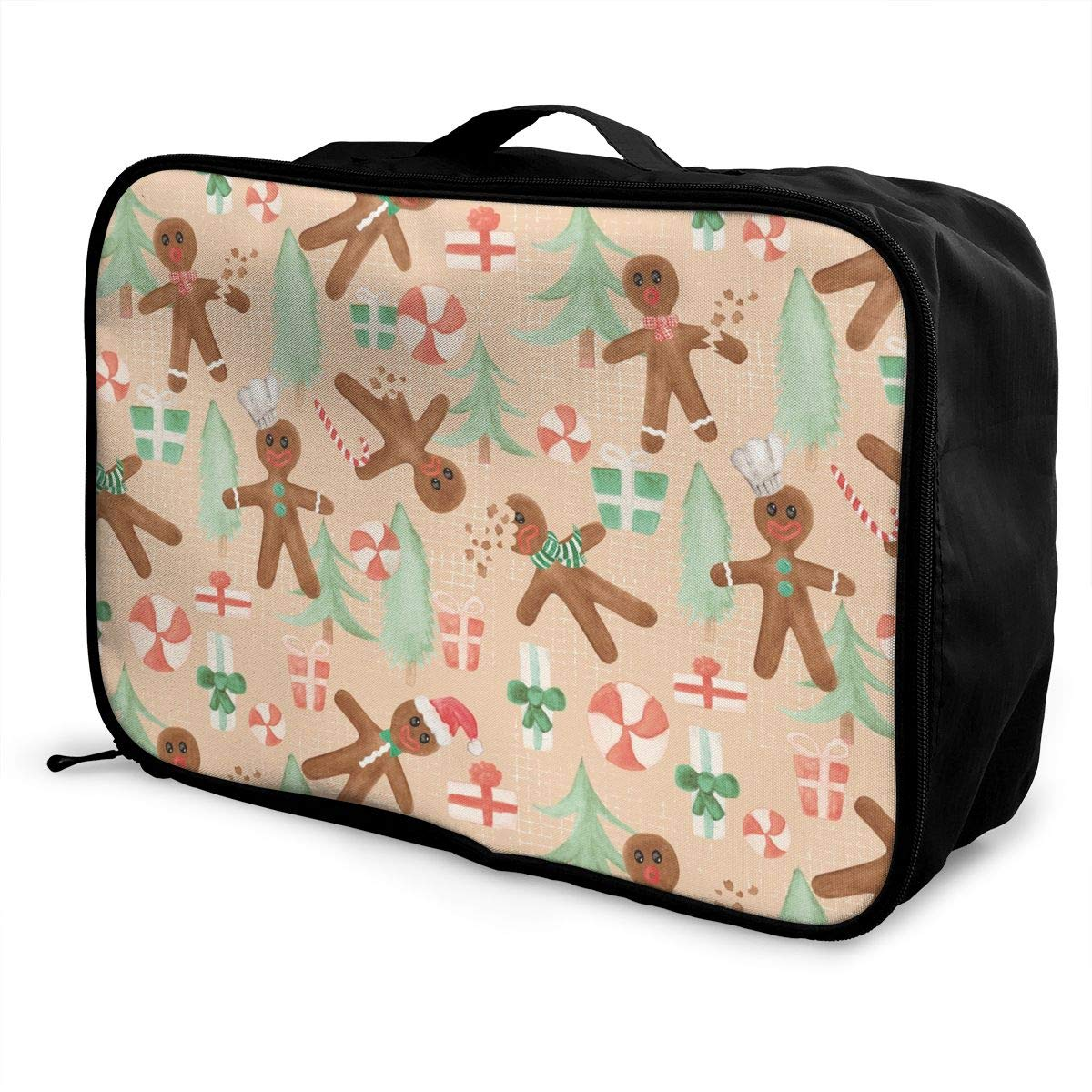 YueLJB Gingerbread Men Lightweight Large Capacity Portable Luggage Bag Travel Duffel Bag Storage Carry Luggage Duffle Tote Bag