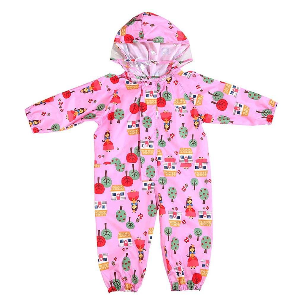 JiAmy Kids Baby One Piece Rain Suit with Hood Waterproof Coverall Outdoors 1-7 Years Ltd