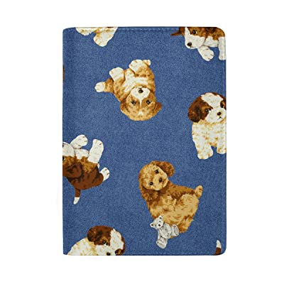 ColourLife Dogs On Denim Blue Leather Passport Holder Passport Cover Wallet