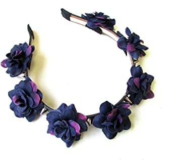 Deep Purple Black Rose Silver Spike Flower Headband Sugar Skull Pastel Goth  1218  EXCLUSIVELY SOLD BY STARCROSSED BEAUTY   Amazon.co.uk  Beauty 4bbded7739a