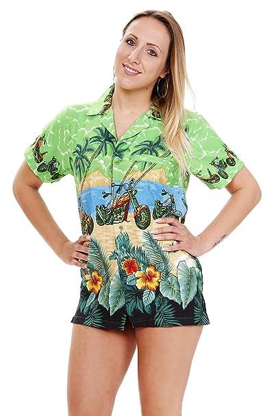 V.H.O. Funky Hawaiihemd Hawaiibluse, Motorrad, Bike, grün, XS