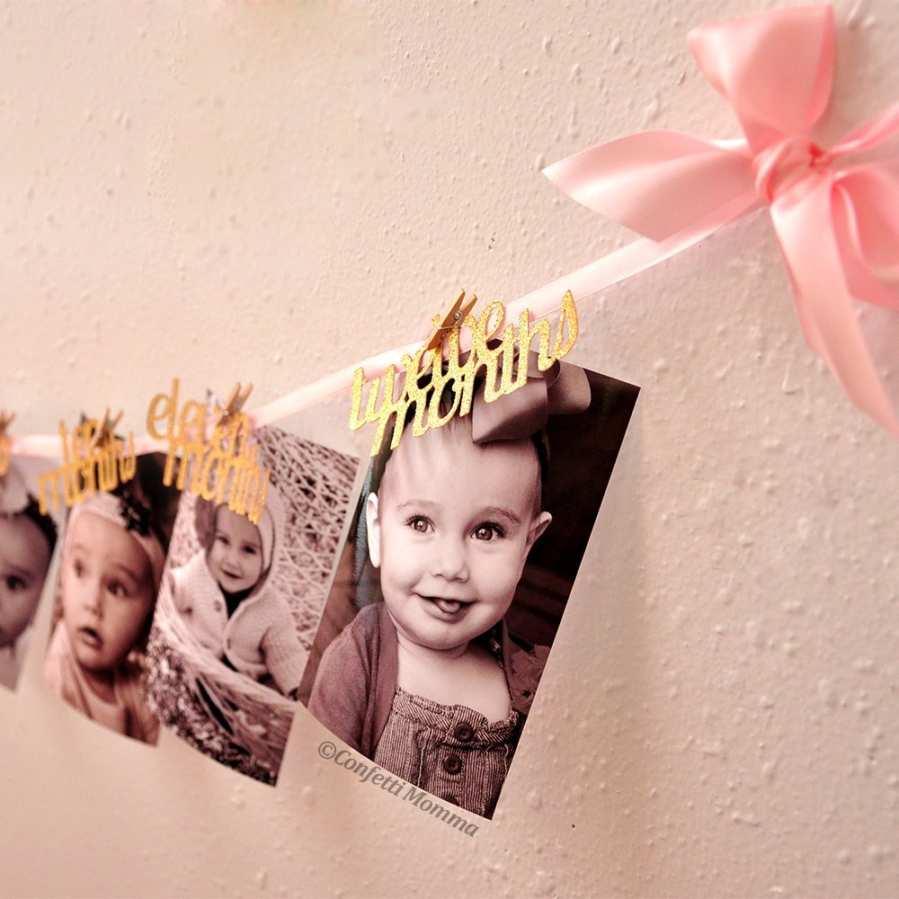 12 Months Photo Banner. Pink and Gold First Birthday Decorations. First Birthday Garland.