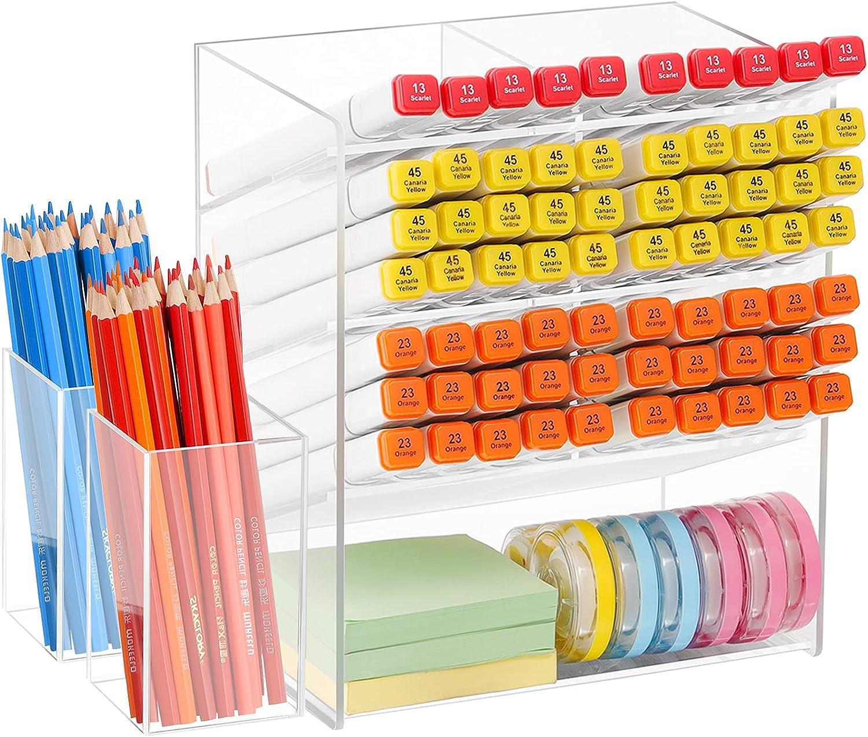 Marbrasse Acrylic Pen Holder, Clear Pen Organizer Set with 2 pcs Pencil Cup Holder for Desk, Multi-Functional Art Supply Organizer Storage for Home/Office/Makeup Desktop Organization & Decor