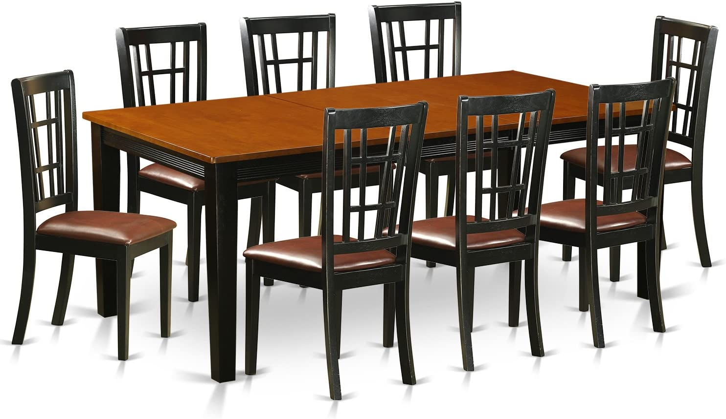 QUNI9-BCH-LC 9 PC Dining set-Dining Table with 8 Wood Dining Chairs