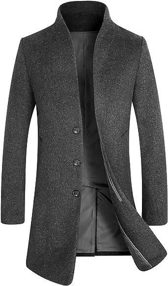 TALLA L. APTRO - Abrigo largo elegante para hombres con talle ajustado y diseño frontal francés, lana