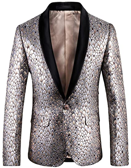 81a81d030ade0 Floral Print Wedding Tuxedo Suit Jacket Men Blazers Slim Fit with Designs  Tag Size 54 Silver