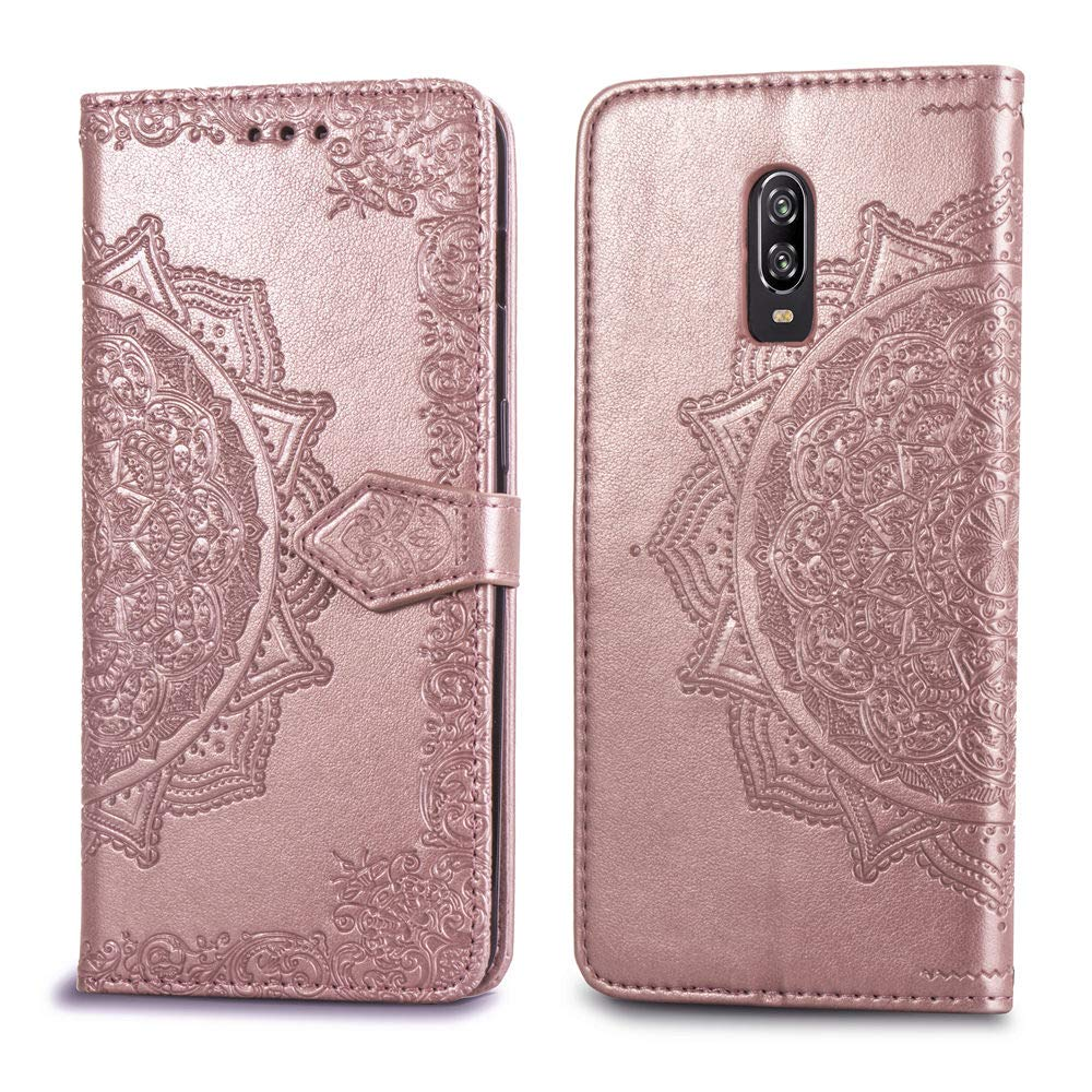 OnePlus 6T Case,OnePlus 6T Wallet Case,Luxury Henna Mandala Floral Flower PU Leather Flip Folio Phone Protective Case Cover with Credit Card Slot Holder Kickstand for OnePlus 6T //1+6T 6.41,Rose Gold