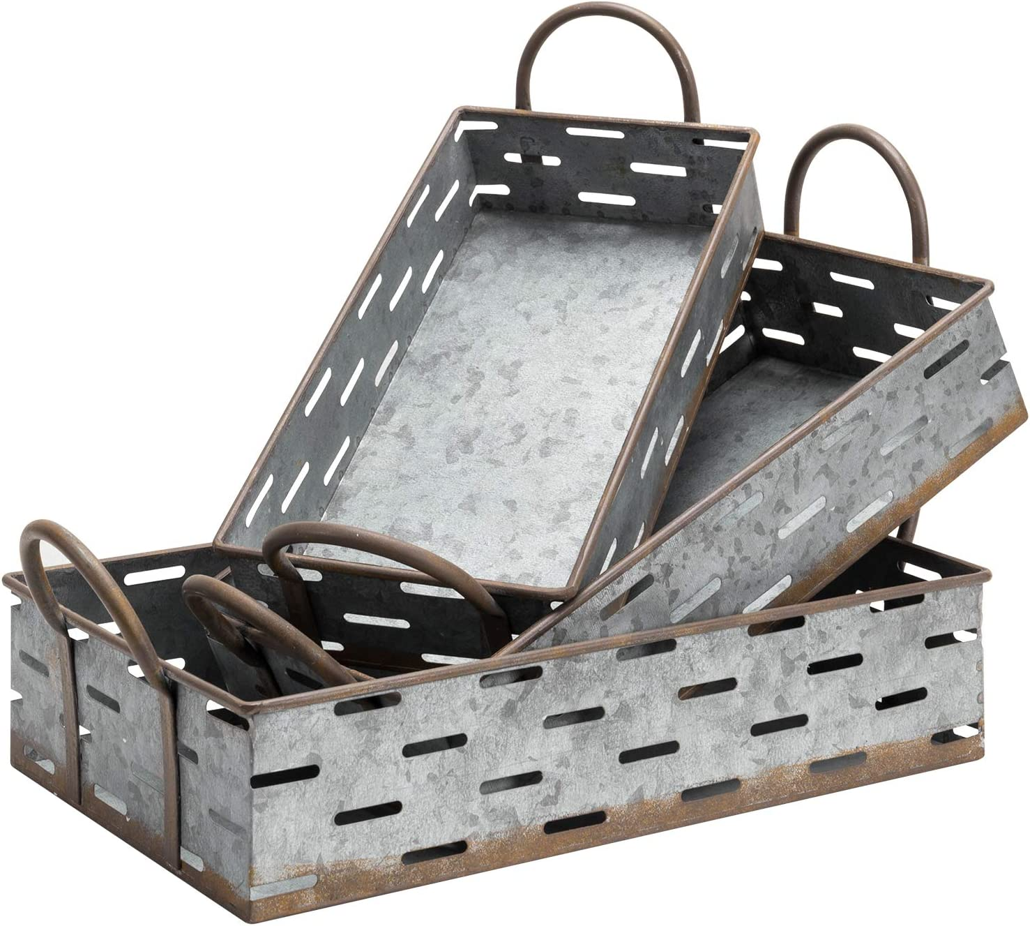 MyGift Vintage Galvanized Silver Metal Nesting Serving Trays with Rust Style Trim & Handles, Set of 3