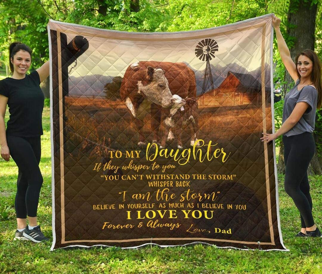 Hereford Cow to My Daughter If They Whisper to You Quilt New Year Winter Birthday Little Boys Kids Best Decorative for Quilt Gifts from Mom Mommy Mother Dad Daddy Father Aunt Uncle