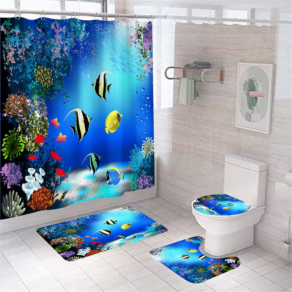 4 Pcs Shower Curtain Set Ocean Tropical Fish Blue Bathroom Decor Waterproof Bath Curtain and Rug Set Toilet Lid Cover,with 12 Hooks,70