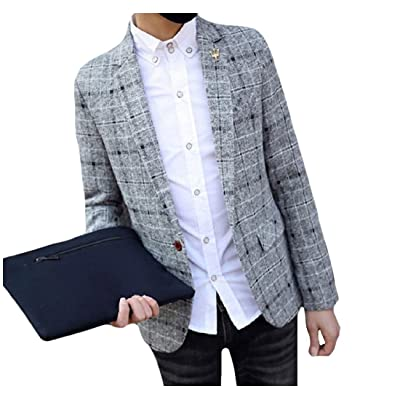 Abetteric Mens Classic Plaid Brushed Juniors Blazer Slim Fitting Outwear