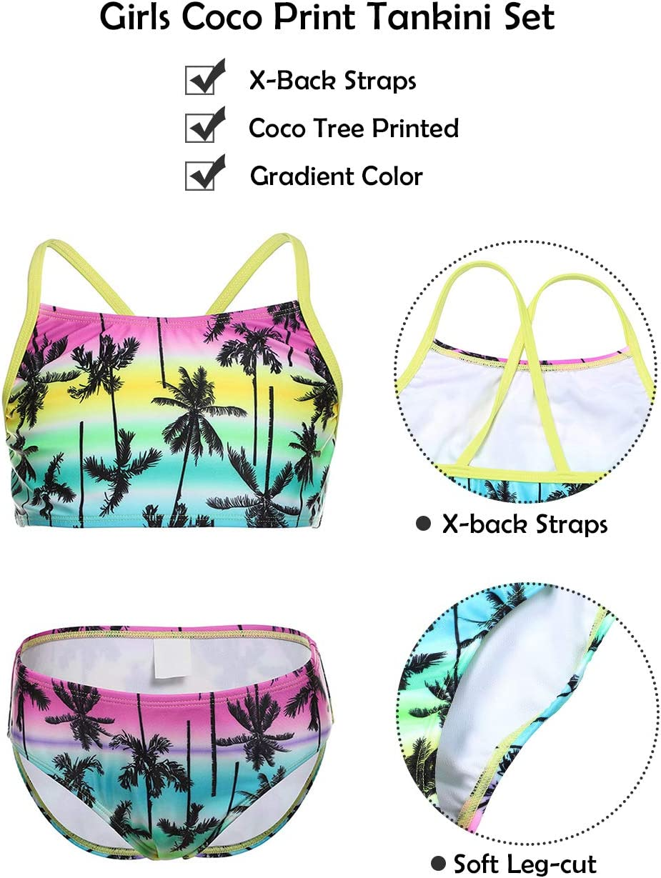 iDrawl Bikini Set M/ädchen Tankini Bademode Strand Sommer Shorts UPF 50+,6-14 Jahre