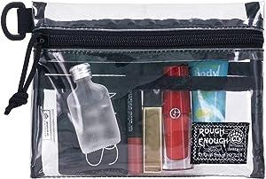 Rough Enough TSA Approved Clear Toiletry Bag Stadium Purse Organizer Insert Small Zipper Pouch Makeup Bag Case Wash Bag Organizer for Women Men Boy Girl Teen Travel Essentials Accessories
