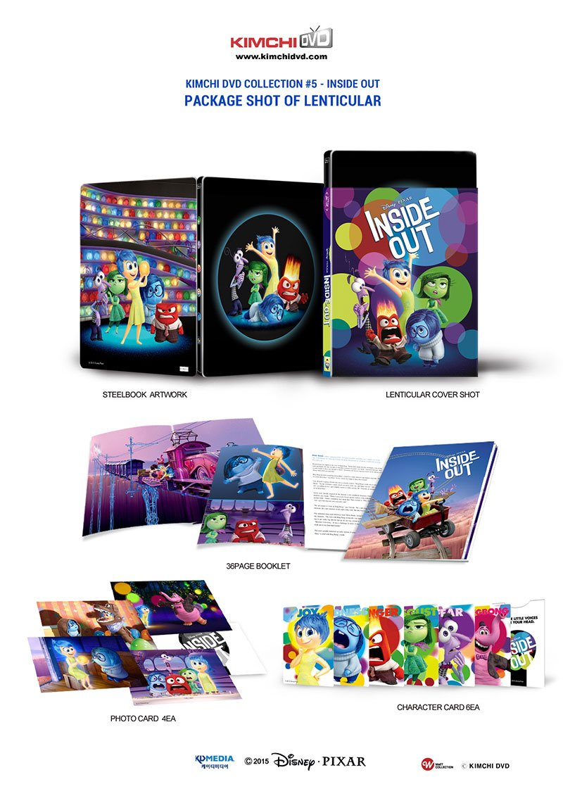 INSIDE OUT (3D Blu-ray + 2D Blu-ray Steelbook) [KimchiDVD Exclusive LENTICULAR SLIP COVER; Region-Free Limited Edition KIMCHI] B01BT6XRO4