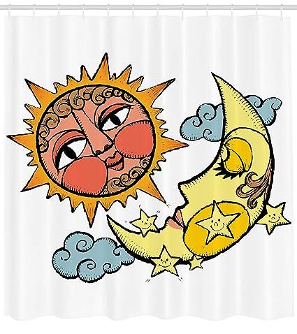 Sol Y Luna Cortina De Ducha Por Ambesonne Carnivalesque Dibujo De