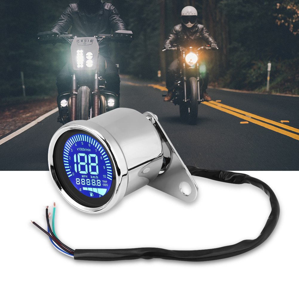 Motorrad Tacho LCD Tacho Universal Motorrad Digital LED LCD Tacho Drehzahlmesser Drehzahlmesser Retro Chrom