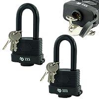 Target TL195 Pack of 2 Long Shackle Waterproof Weatherproof Heavy Duty Padlock - 3 Keys Per Lock - Fully Coated - Designed to Use Outdoors