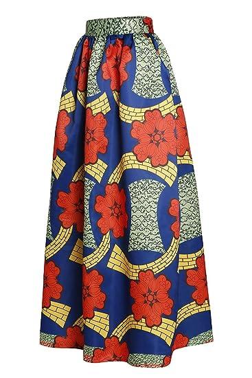 SheShy Mujer Impresión Africana Floral Casual Una Línea Falda Maxi ...