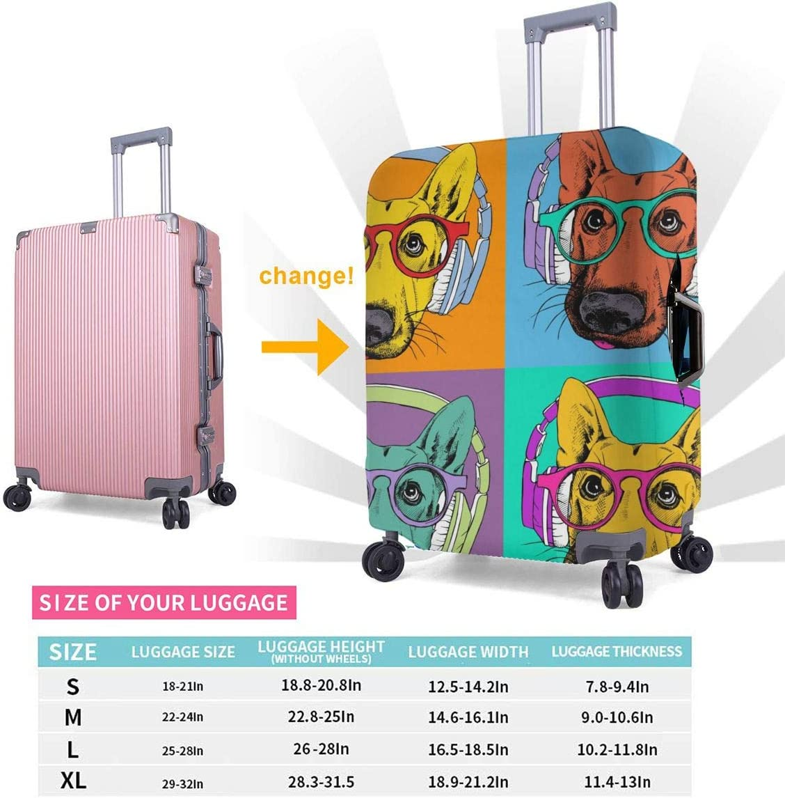 Suitcase Cover Protective Customized Luggage Cover Fits 18-32 Inch German Shepherd with Headphones and Glasses XL