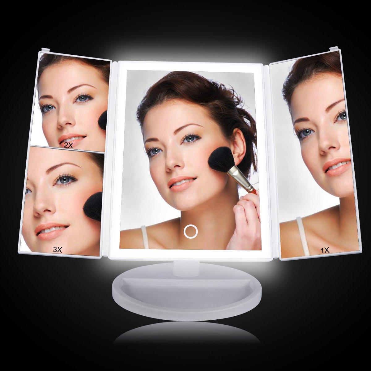 Miroir grossissant, 4LED streifenförmig–pliable Miroir cosmétique avec éclairage rotative à 180°, maquillage Miroir–Cadeaux pour les femmes LASUAVY