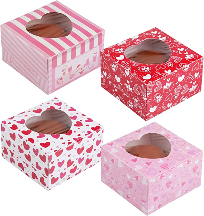 Valentine's Day Cupcake Boxes Decorations– V-Day Treat Snack Food Carriers Gift Party Supplies Favors 16Ct