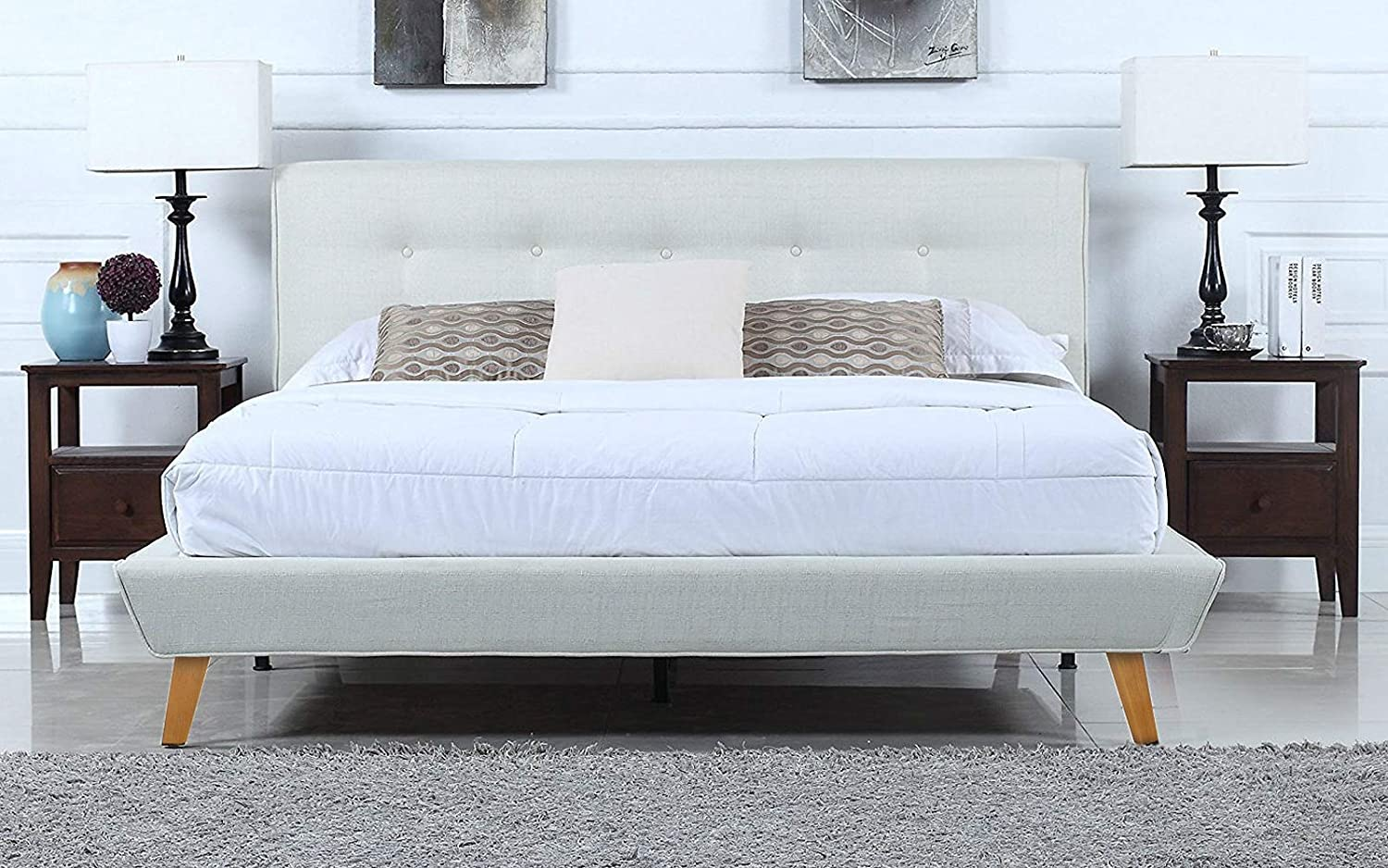Mid-Century Ivory Linen Low Profile Platform Bed Frame with Tufted Headboard Design (Queen)
