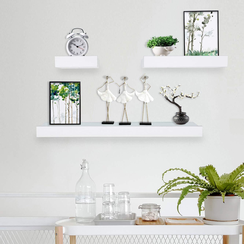 Coismo Set of 3 Multi length Floating Shelves, White by Coismo
