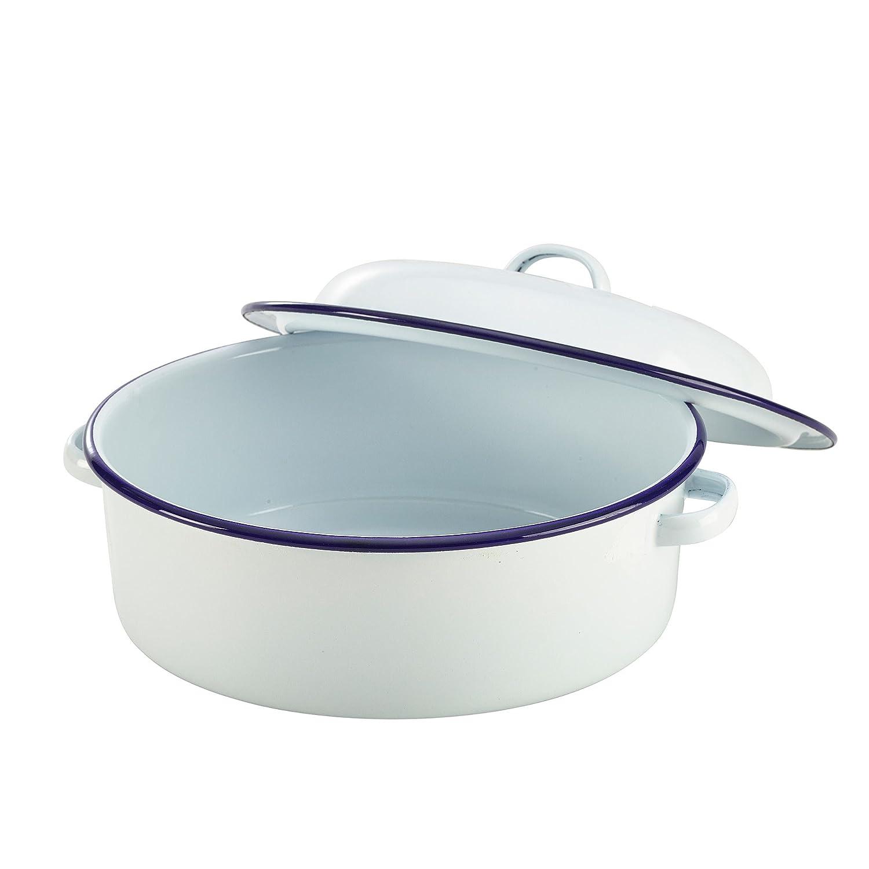 Round Enamel Roaster, White 20cm Oven Safe Cookwear KitchenCenter 670040240