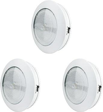 Pack de 3 luces LED Xtralite Omni medianas, 9 cm, 3 LED, luz blanca con función temporizador, batería inalámbrica con tiras de mando de 3 m: Amazon.es: Iluminación