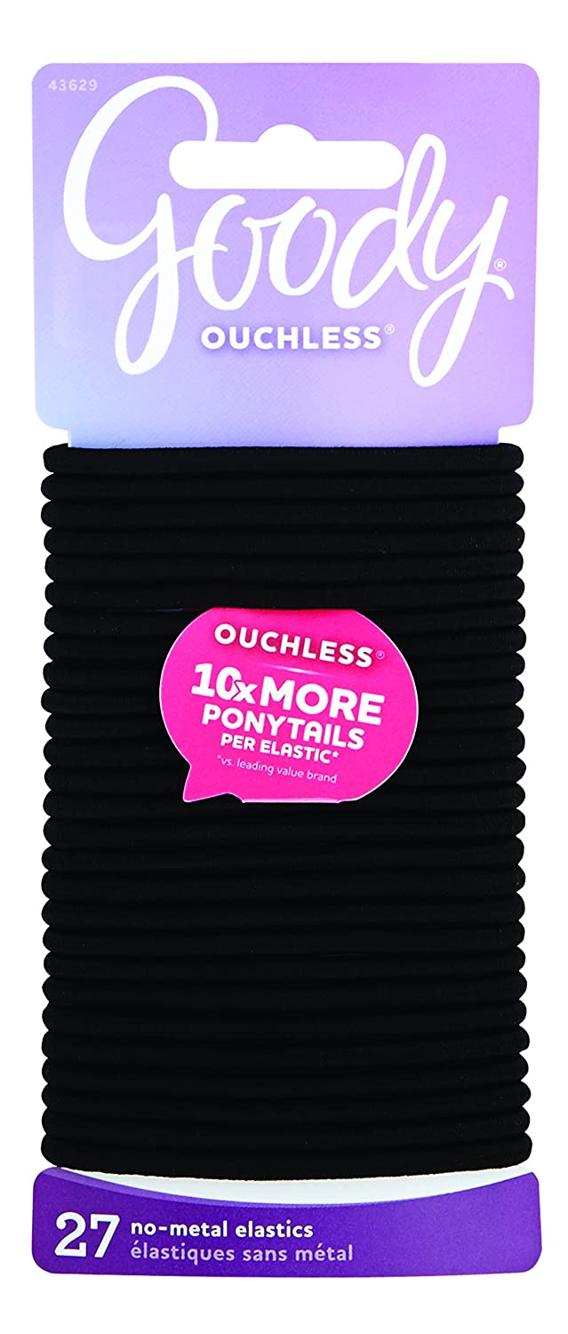 Goody Ouchless Women's Braided Elastic Thick, Black, 27 Count, 4MM for Medium Hair 43629