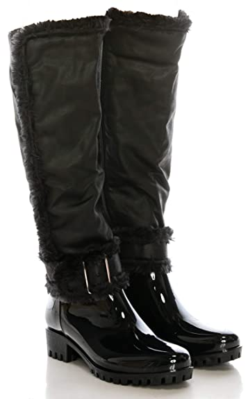 CALICO  CALICO  KIKI Damens's Knee High Rain Stiefel Faux Leder 29a31a