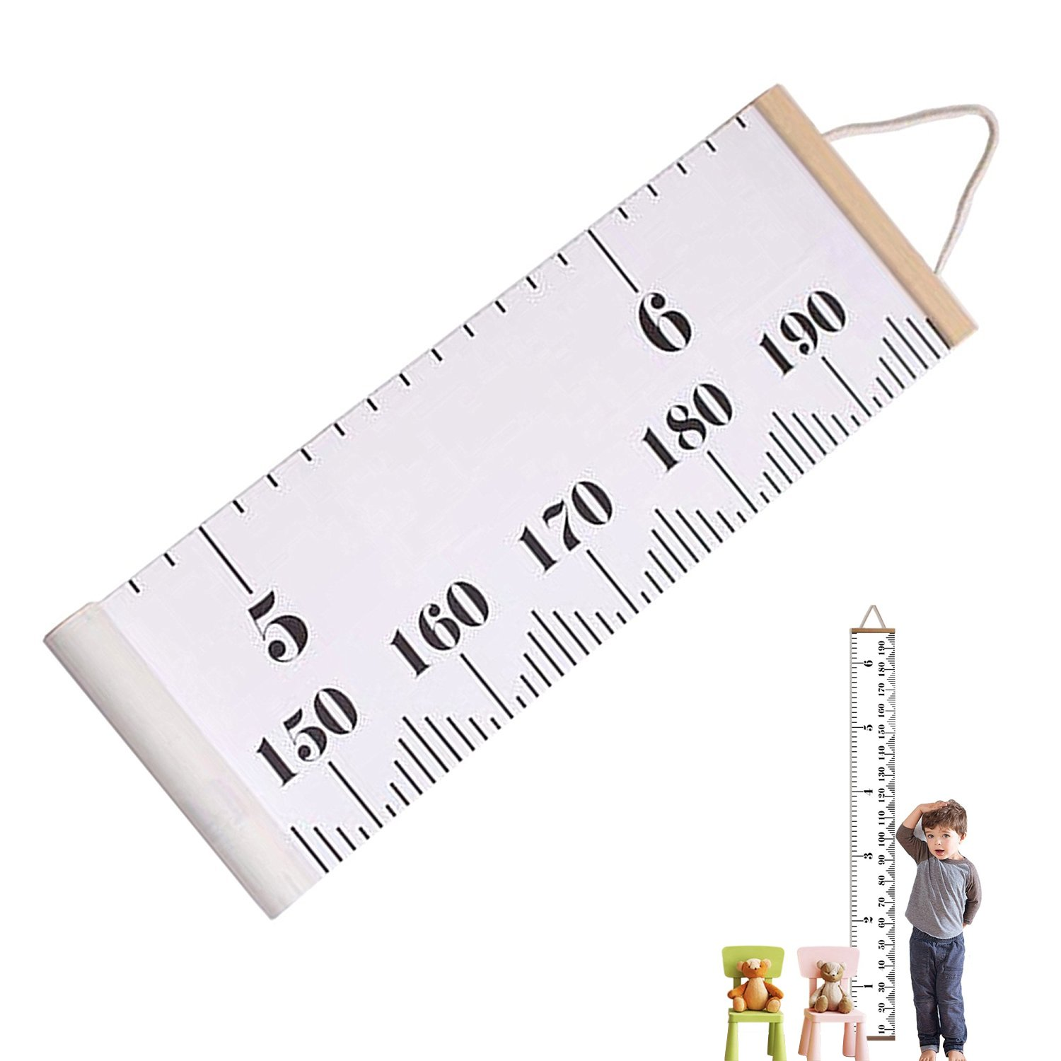 Esky Height Growth Chart Kids, Height Measuring Ruler Baby Children Hanging Ruler Canvas + Pine Wood Frame Ruler Room Wall Room Decoration 79''x7.9'' / 200CMx20CM