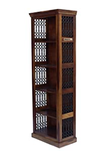 Meera Handicraft Sheesham Wood 5 Tear Iron Jali Bookcase/Bookshelf for Study Room | Provincial Teak Finish