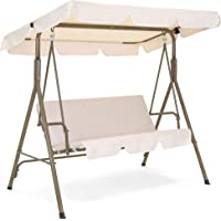 Best Choice Products 2-Person Outdoor Large Convertible Canopy Swing Glider w/ Removable Cushions- Beige