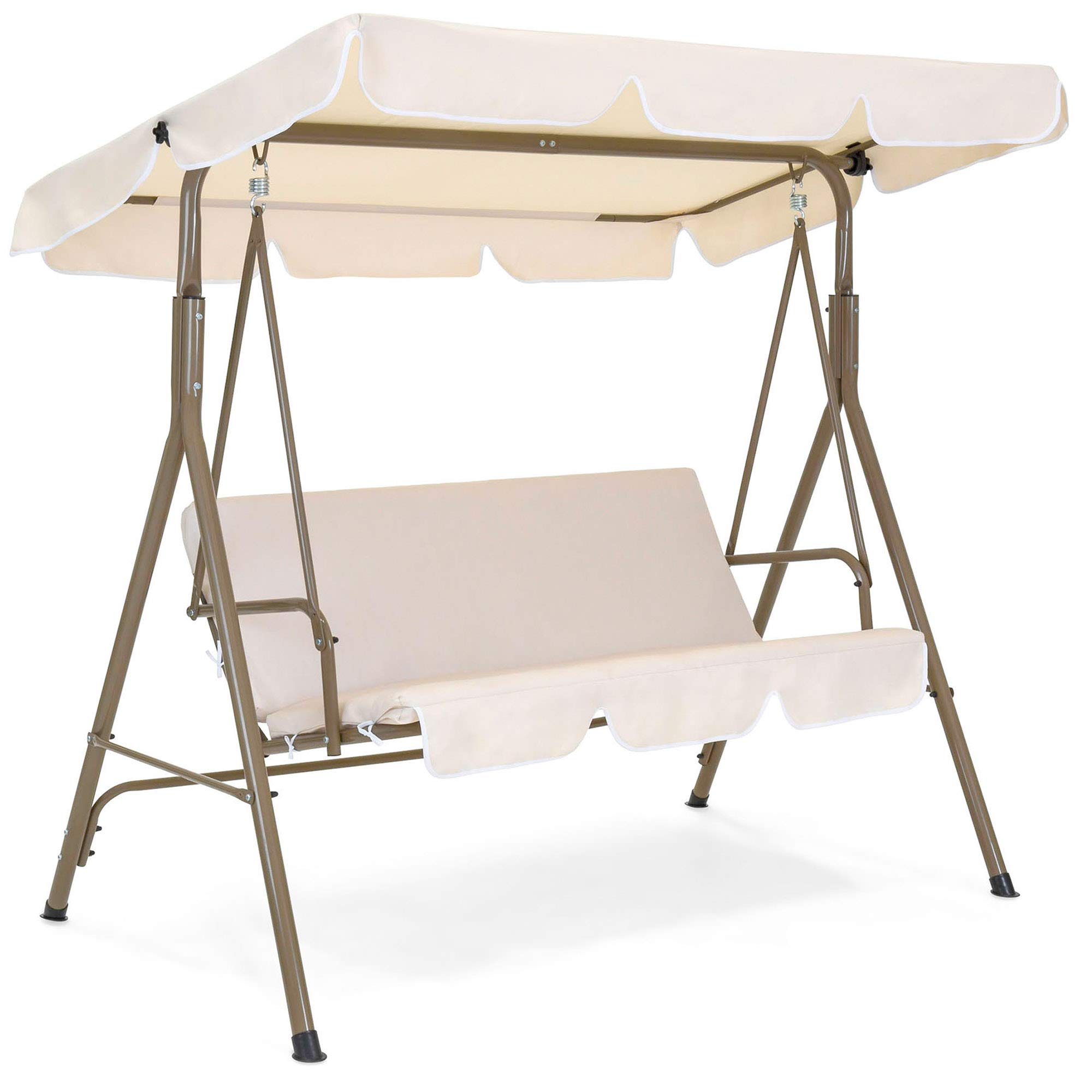 Best Choice Products 2-Person Outdoor Large Convertible Canopy Swing Glider Lounge Chair w/ Removable Cushions- Beige by Best Choice Products