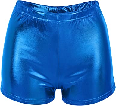 CHICTRY Womens Shiny Holographic Metallic High-Waisted Zipper Crotch Booty Shorts Clubwear