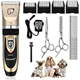 Pet Grooming Clippers, Focuspet Dog Clippers Rechargeable Cordless Dog Grooming Clippers Kit Low Noise Electric Hair Trimming Clippers Set For Small Medium Large Dogs Cats Other Animals