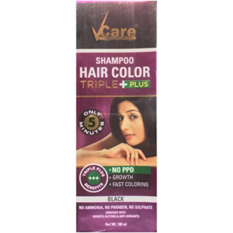 Buy Vcare Shampoo Hair Color Triple Plus Bottle, Black