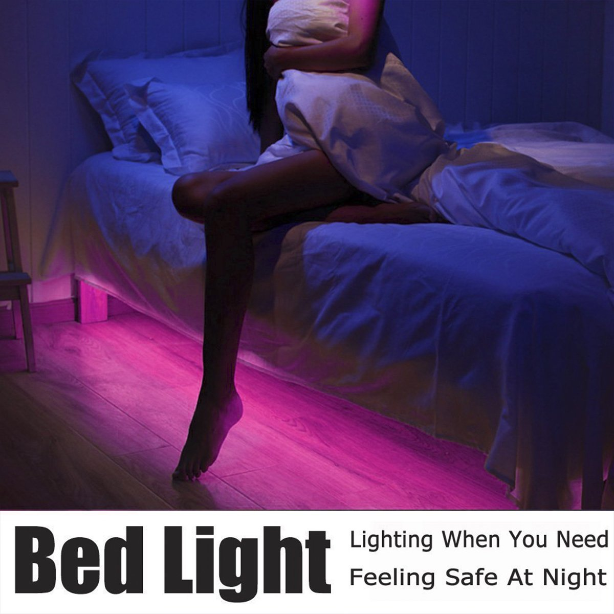 LEHOU Under Bed Light Motion Activated Illumination RGB Color Include Warm Color Automatic Staircase Lighting LED Strip Sensor Night Light Bathroom,Wardrobe,Kitchen - 1.5m/4.9ft x 2 by LEHOU (Image #4)