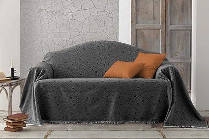 HIPERMANTA Colcha Foulard Multiusos Jacquard Modelo Estrellas para sofá y para Cama, Algodón-Poliéster, 225x285 cms. Gris Oscuro.