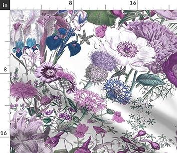 Round Tablecloth Floral Flowers Botanical Lattice Mauve Green Cotton Sateen