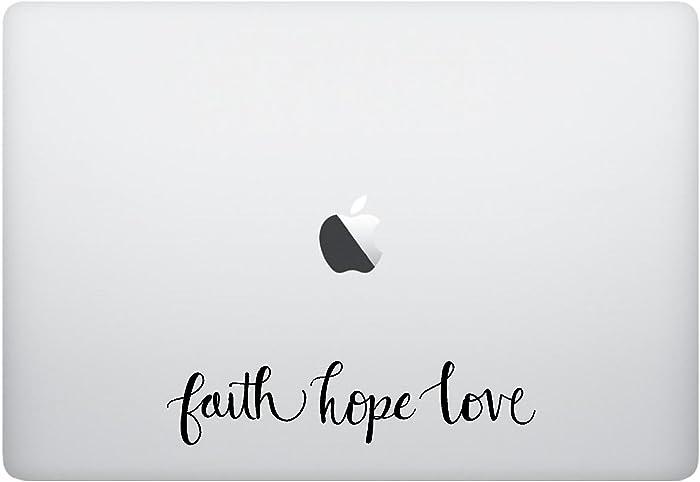 Laptop Sticker Decal - Faith Hope Love - Matte Black Skins Stickers