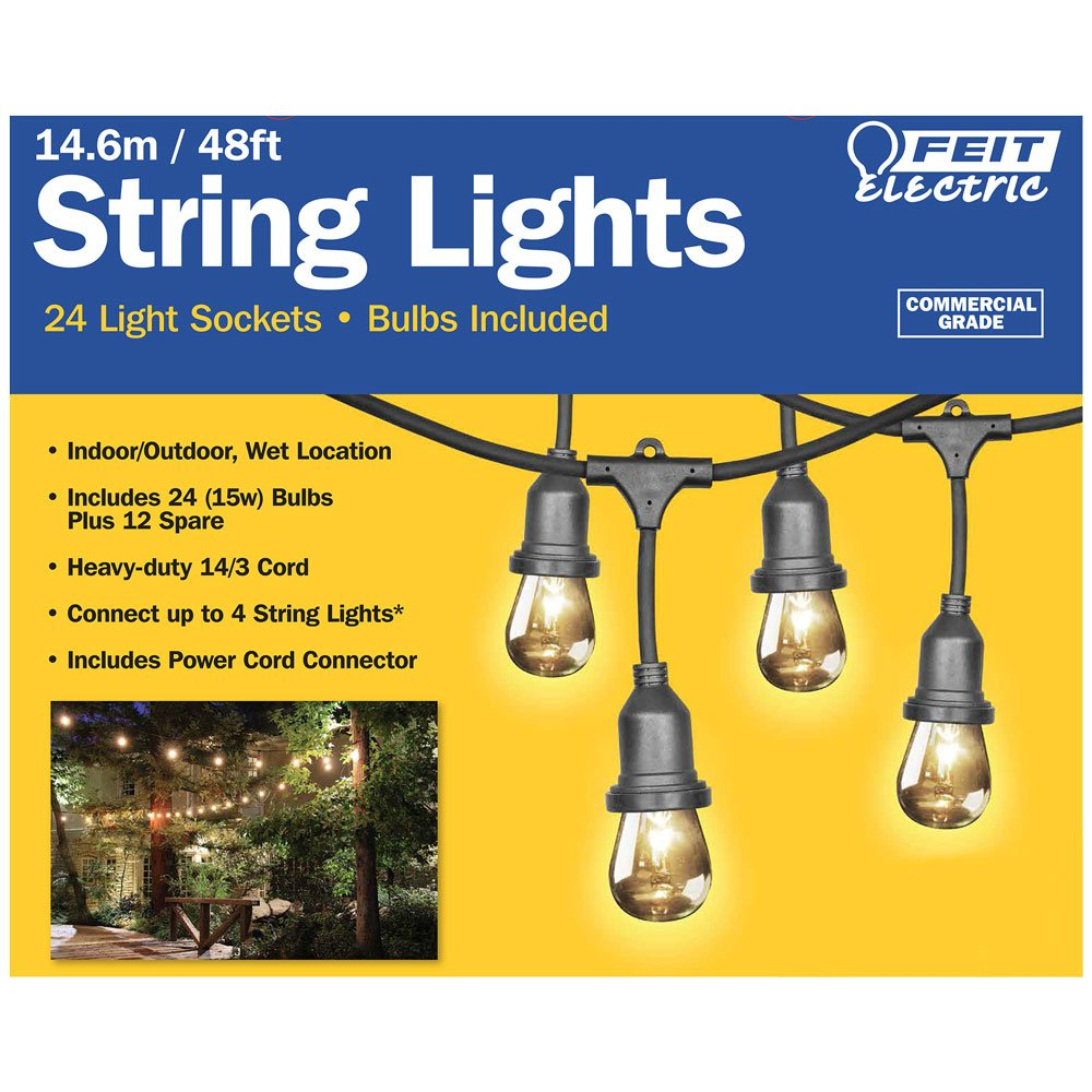 Feit 48ft (14.6m) LED Indoor/Outdoor Waterproof Colour Changing String Lights