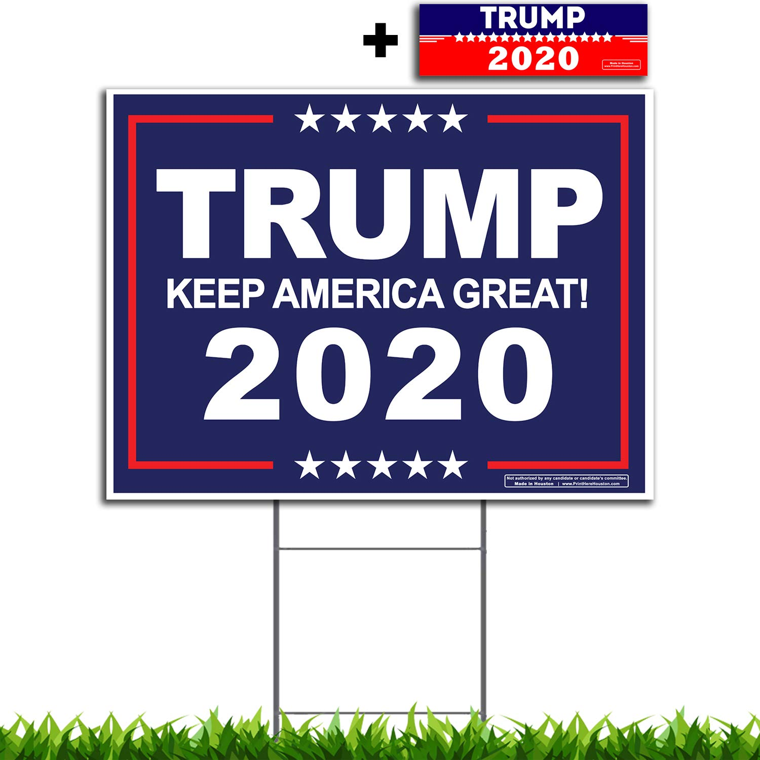 VIBE INK President Donald Trump - Keep America Great! 2020 Political Campaign Rally Yard Sign (24''x18'') Included Metal Stake - Made in America, Waterproof, Double Sided Print (Blue)