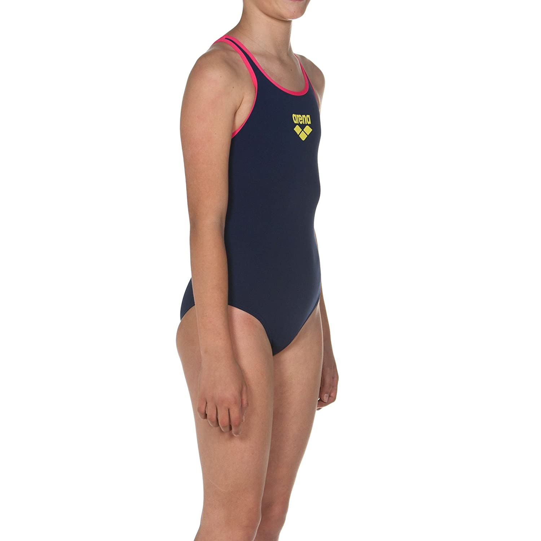 36dae43a2018c Amazon.com : arena Girls Big Logo Swimsuit Navy Blue : Sports & Outdoors
