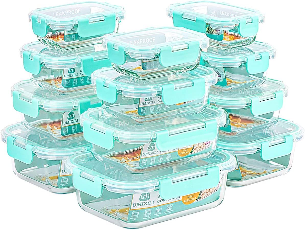 UMIZILI 24 Pieces Glass Food Storage Containers with Lids, 4 Capacities Meal Prep Boxes for Lunch, Dishwasher Safe (12 Containers & 12 Lids) Mint