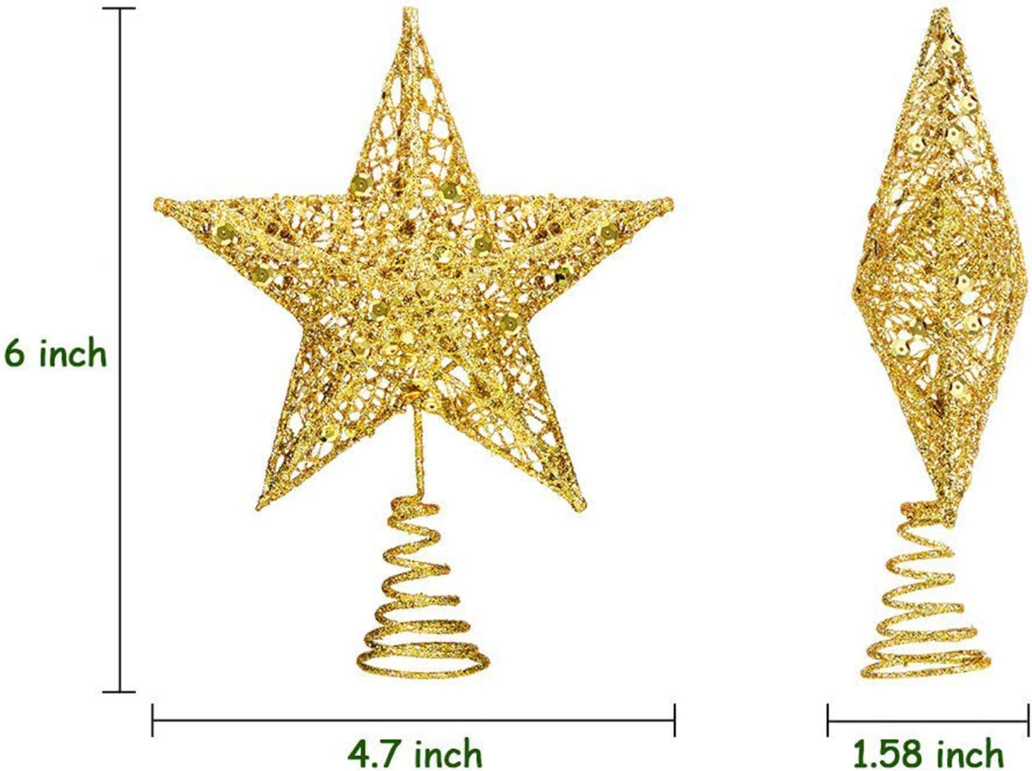 Red EVERMARKET Metal Glittered Christmas Tree Topper Hallow Wire Star Topper for Christmas Tree Ornament Decor Decoration